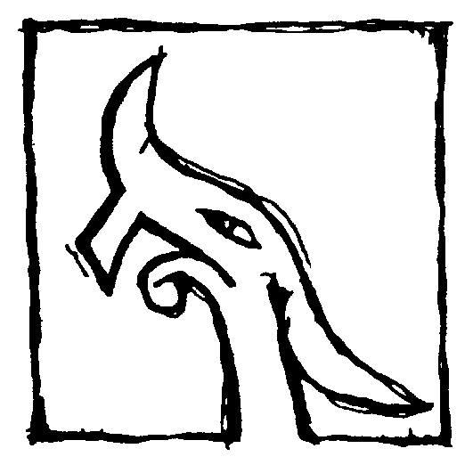 Esihistorian opastuskeskus Nauravan lohikäärmeen logo, joka on lähtöisin viikinkiaikaisen keihäänkärjen koristekuviosta. Logossa on lohikäärme.