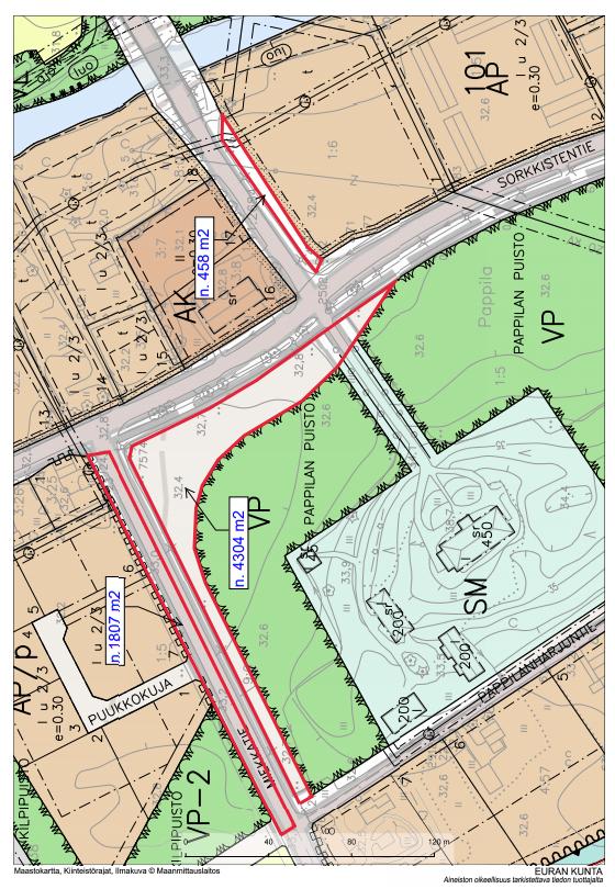 Karttapiirroksessa on kuvattuna kunnan ostamat maakaistaleet Pysäkintien, Sorkkistentien ja Miekkatien varresta.